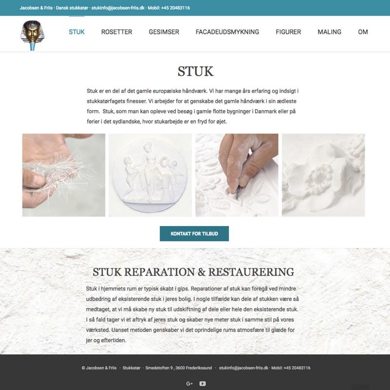 Stukkatør Jacobsen & Friis hjemmeside