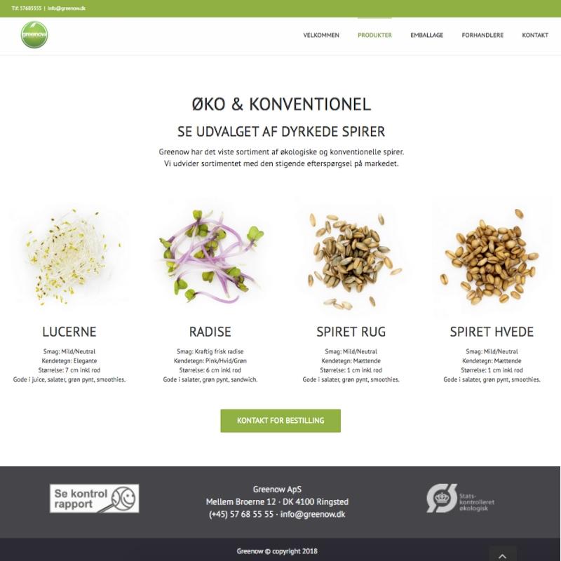 Greenow produkt hjemmeside